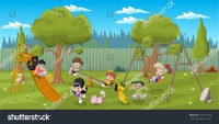 Cute Happy Cartoon Kids Playing Playground Stock Vector ...