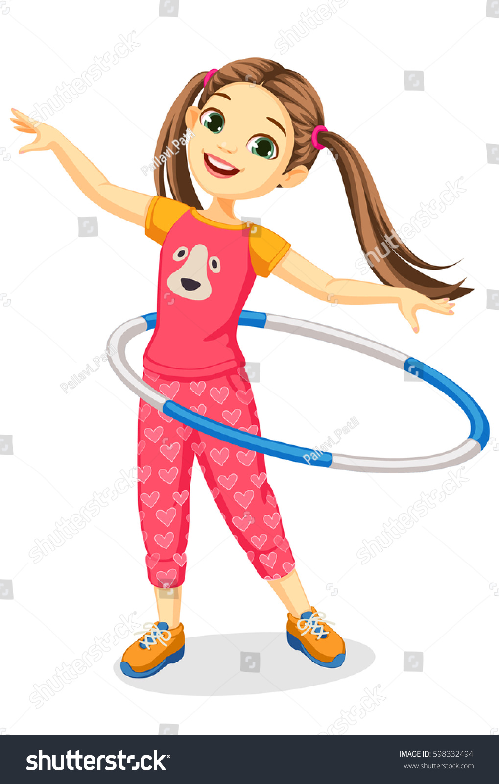hight resolution of cute happy girl with hula hoop