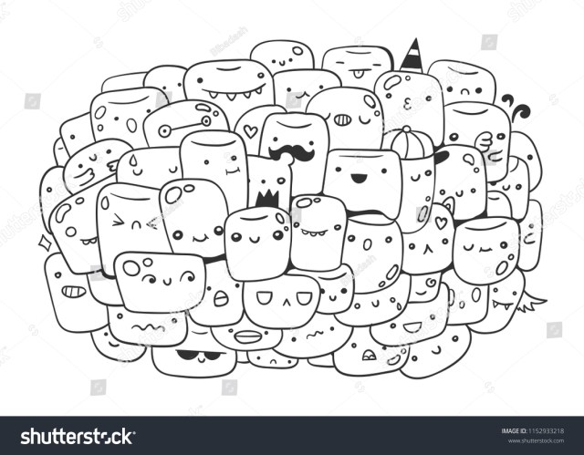 Cute Marshmallow Monsters Doodle Coloring Page Stock Vector