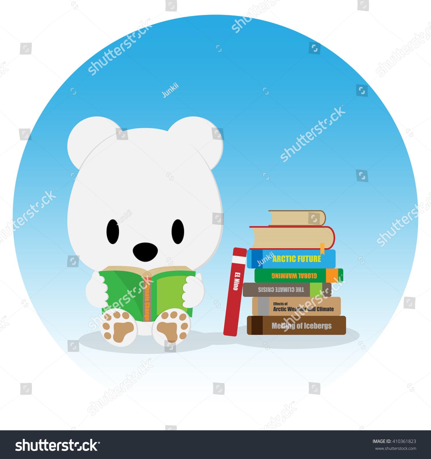 Cute Polar Bear Reading Book About Stock Vector