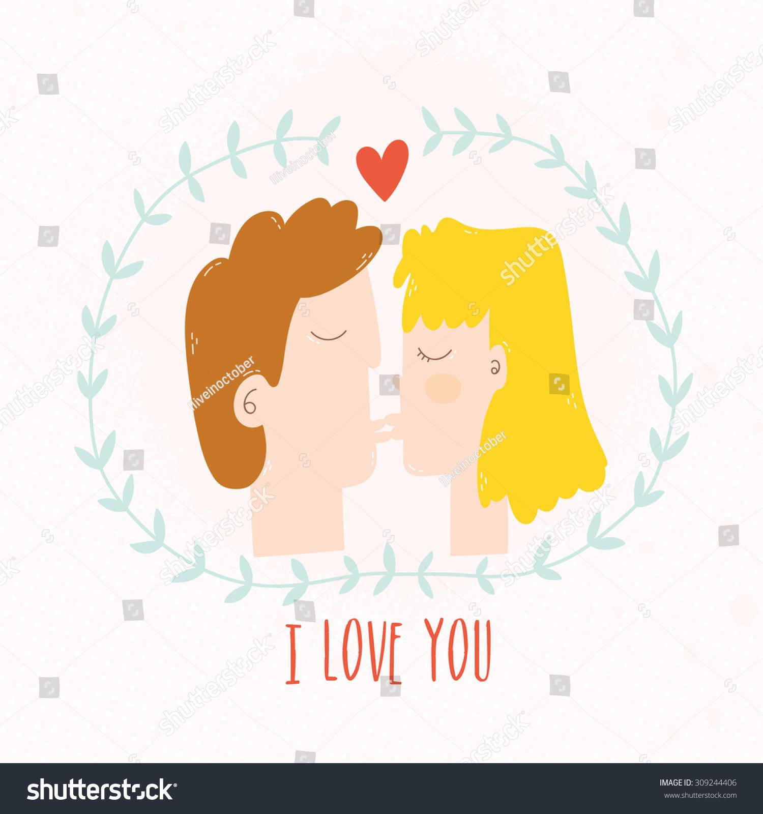 hight resolution of girl and boy kissing cartoon illustration vector flat kiss