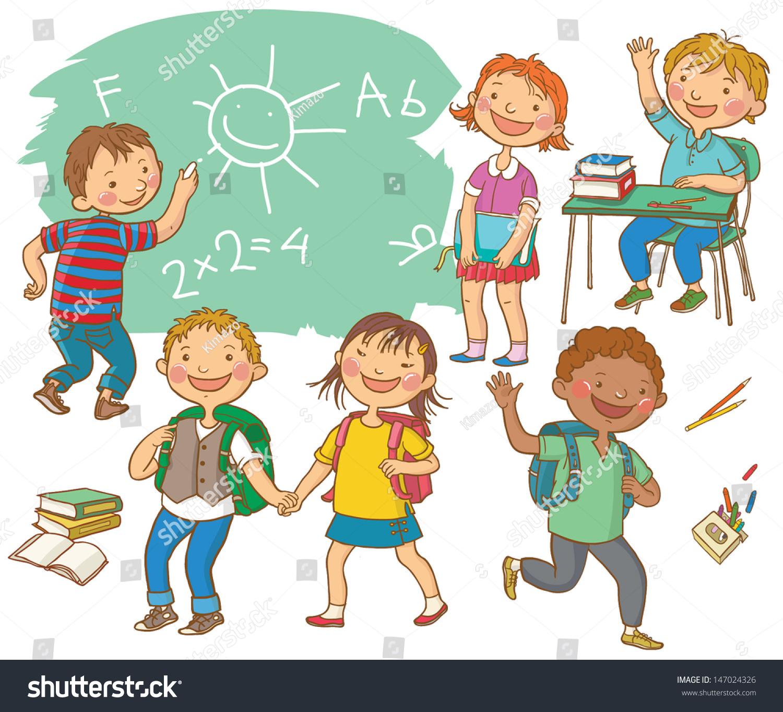 Cute School Children School Activities Back Stock Vector