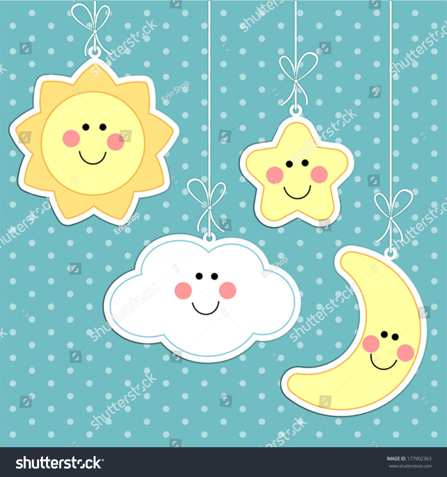 Cute Sun Cloud Star Moon On Stock Vector