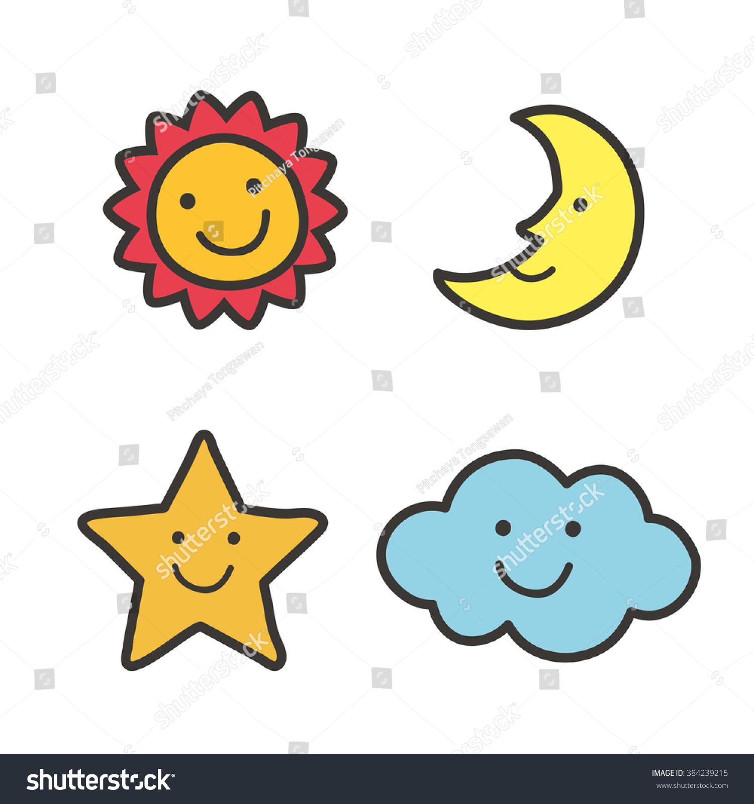 Cute Sun Moon Star Cloud Stock Vector Shutterstock
