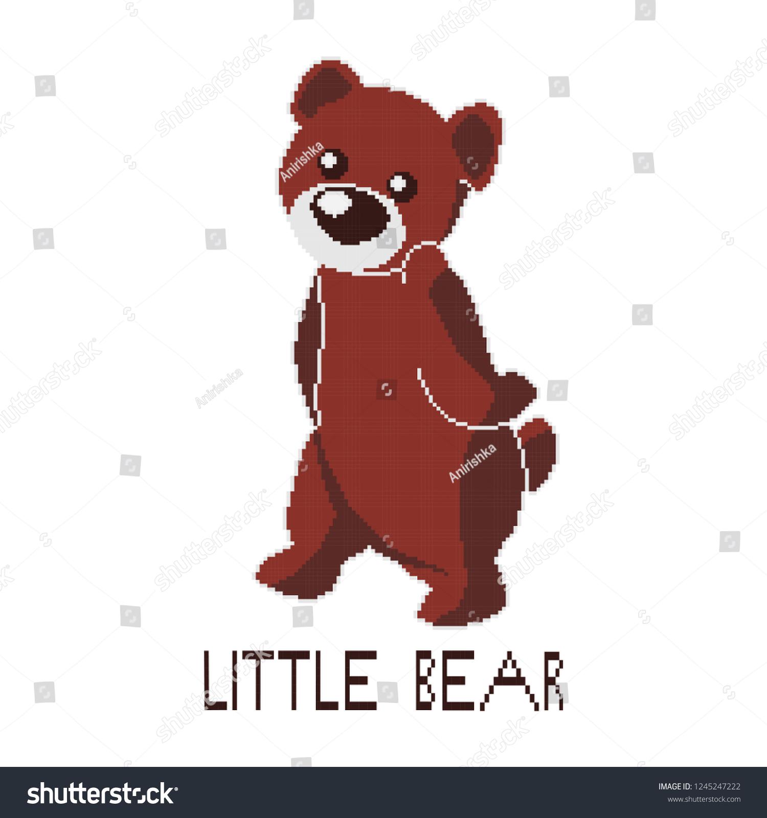hight resolution of cute teddy bear clipart pixel art illustration of a brown bear
