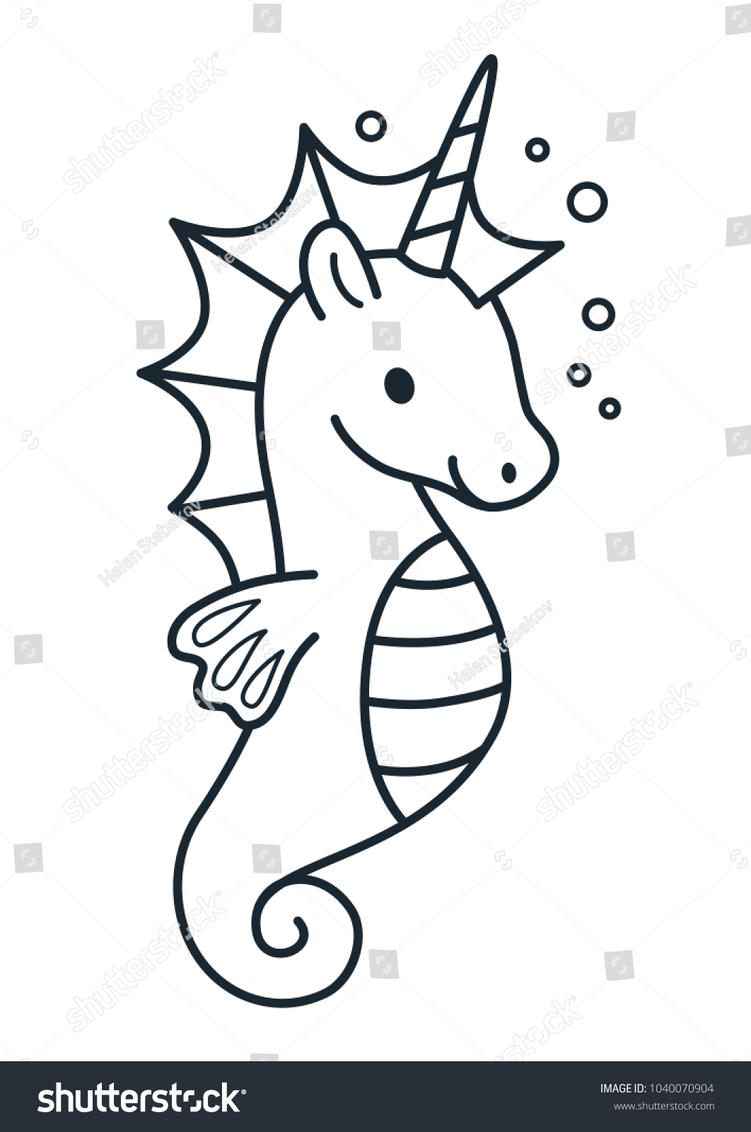 Sea Unicorn Coloring Pages