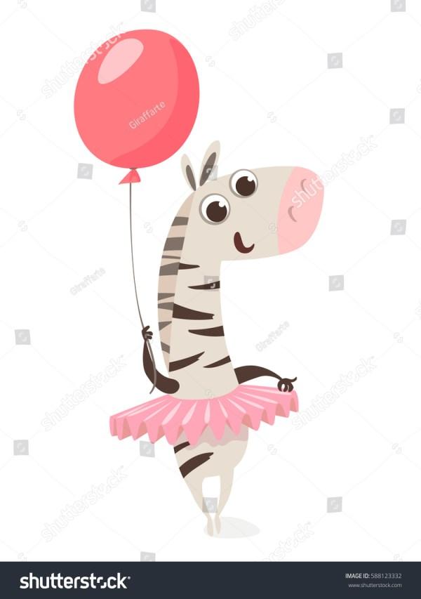 cute vector zebra character balloon