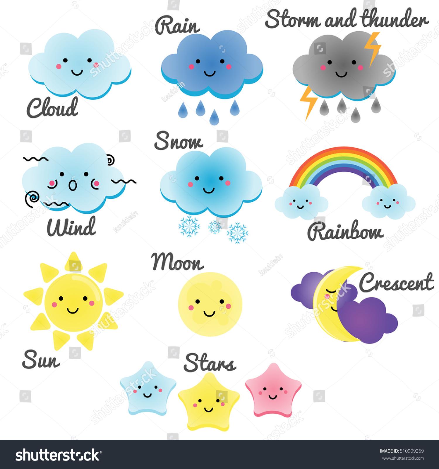 Cute Weather Sky Elements Kawaii Moon Stock Vector