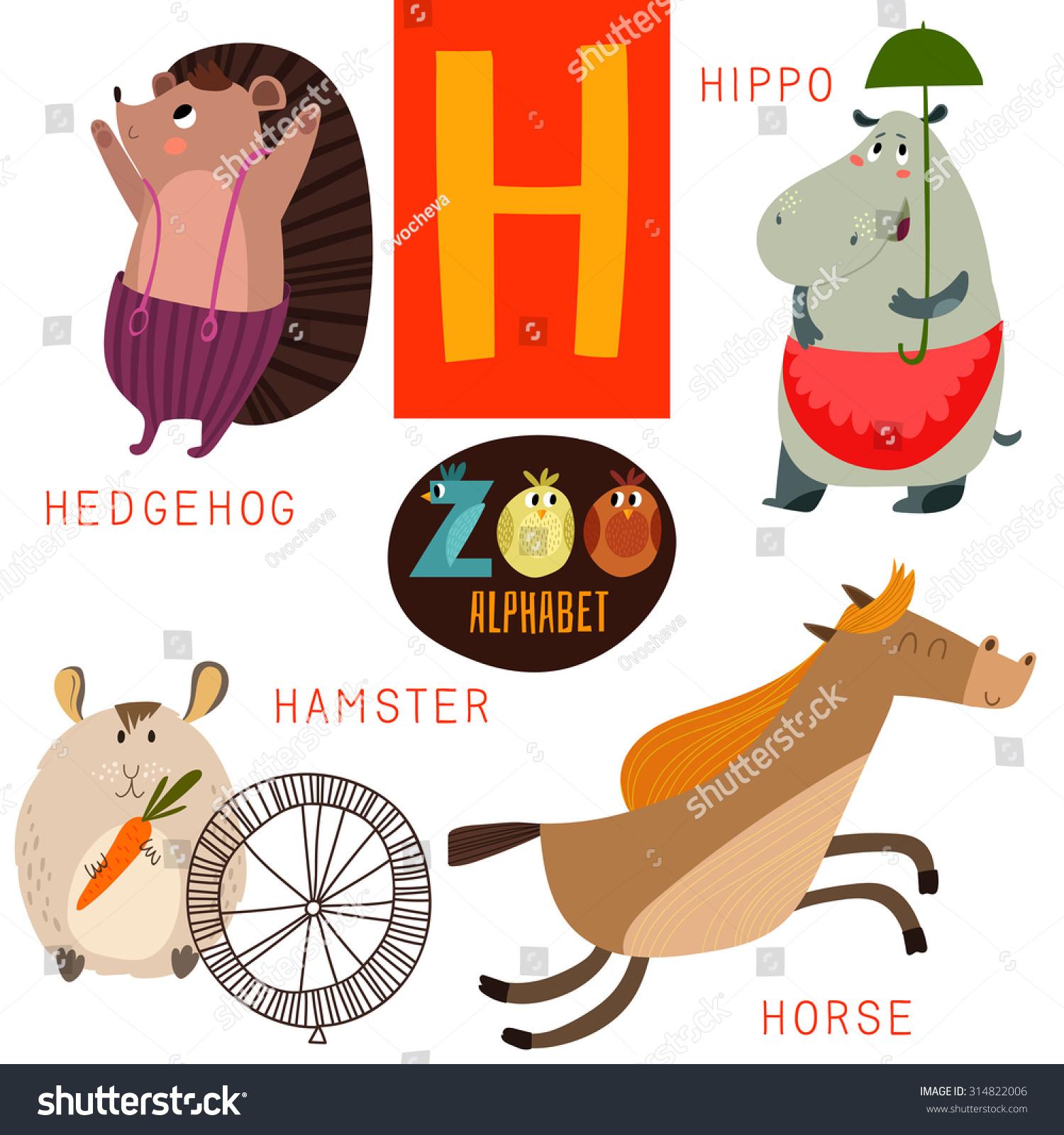 Cute Zoo Alphabet Vectorh Letter Funny Stock Vector