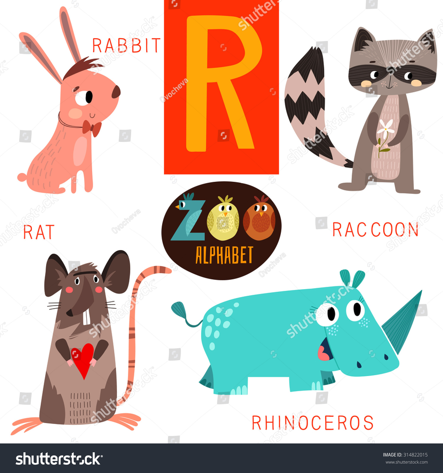 Cute Zoo Alphabet Vectorr Letter Funny Stock Vector
