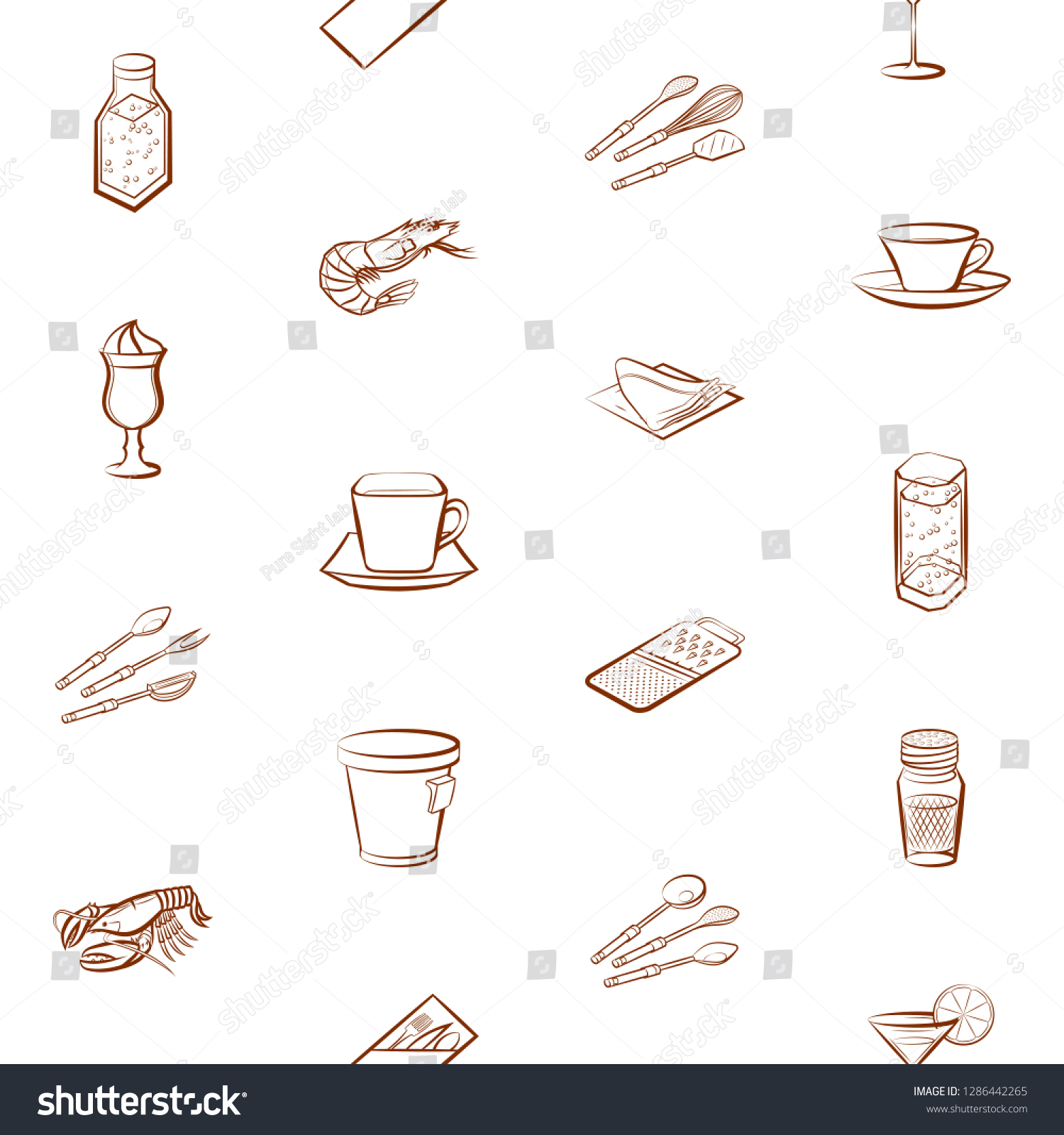 hight resolution of cutlery drinks seafood and table setting set background for printing design