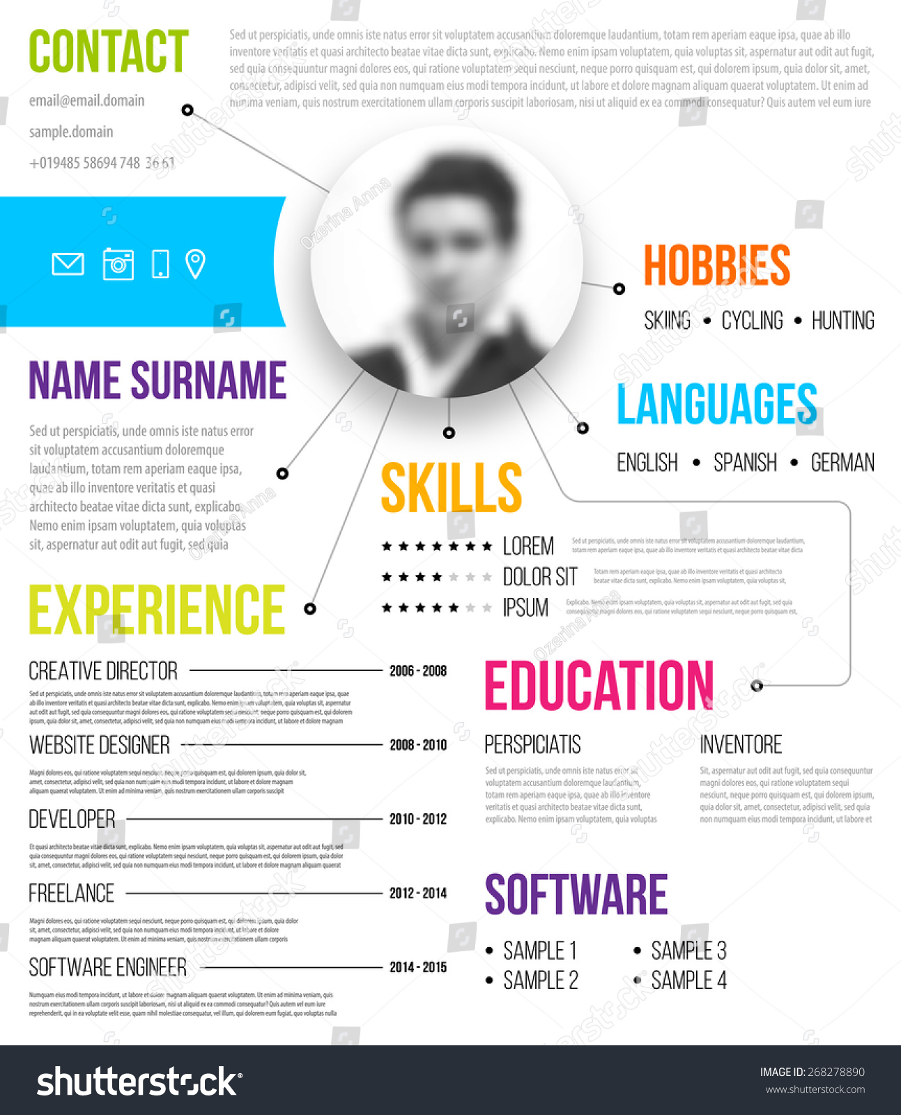Cv Resume Template Minimalistic Style Business Stock