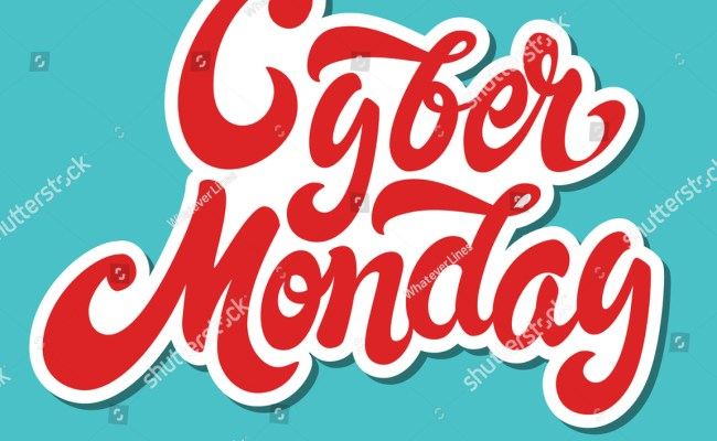 Cyber Monday Hand Drawn Lettering Design Vector Royalty
