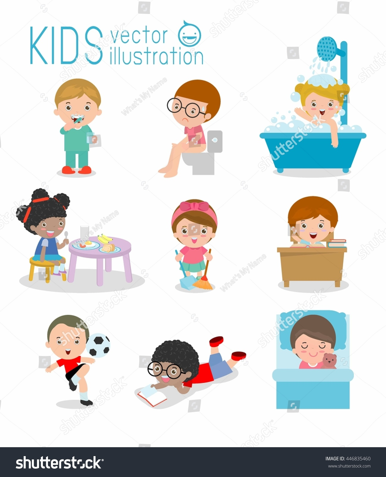 Daily Routine Daily Routines Kids Daily Stock Vector