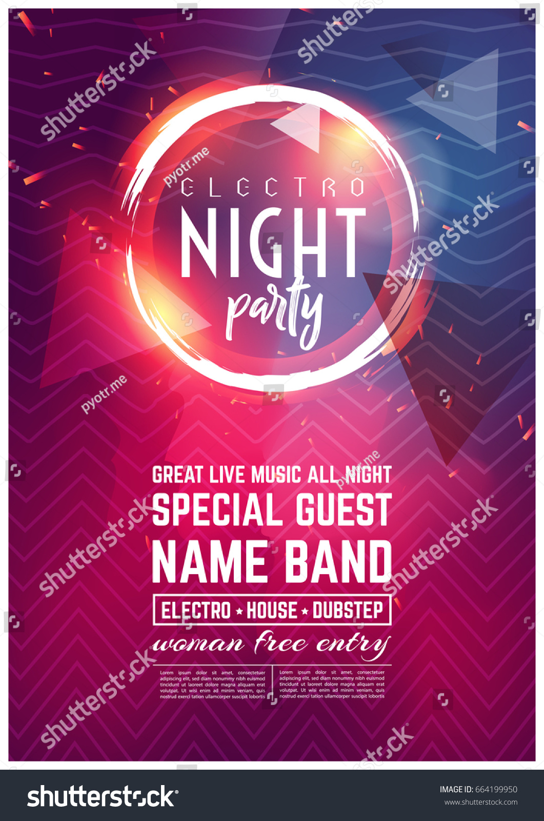 Dance Club Night Summer Party Flyer Brochure Layout Template. Club Party  Banner Design. Vector