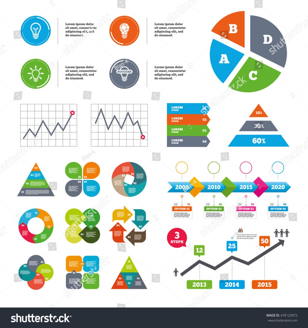 medium resolution of data pie chart and graphs light lamp icons circles lamp bulb symbols energy