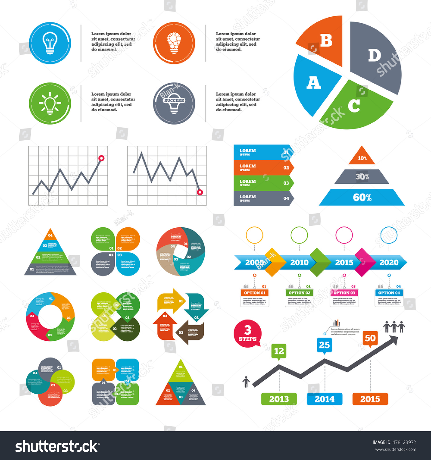hight resolution of data pie chart and graphs light lamp icons circles lamp bulb symbols energy