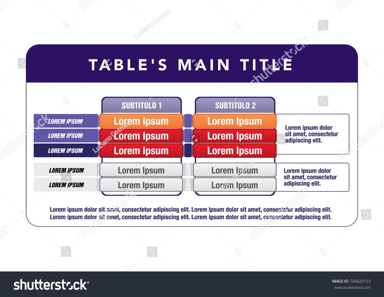 Data Table Template Ideal Presentations Institutional Vector De