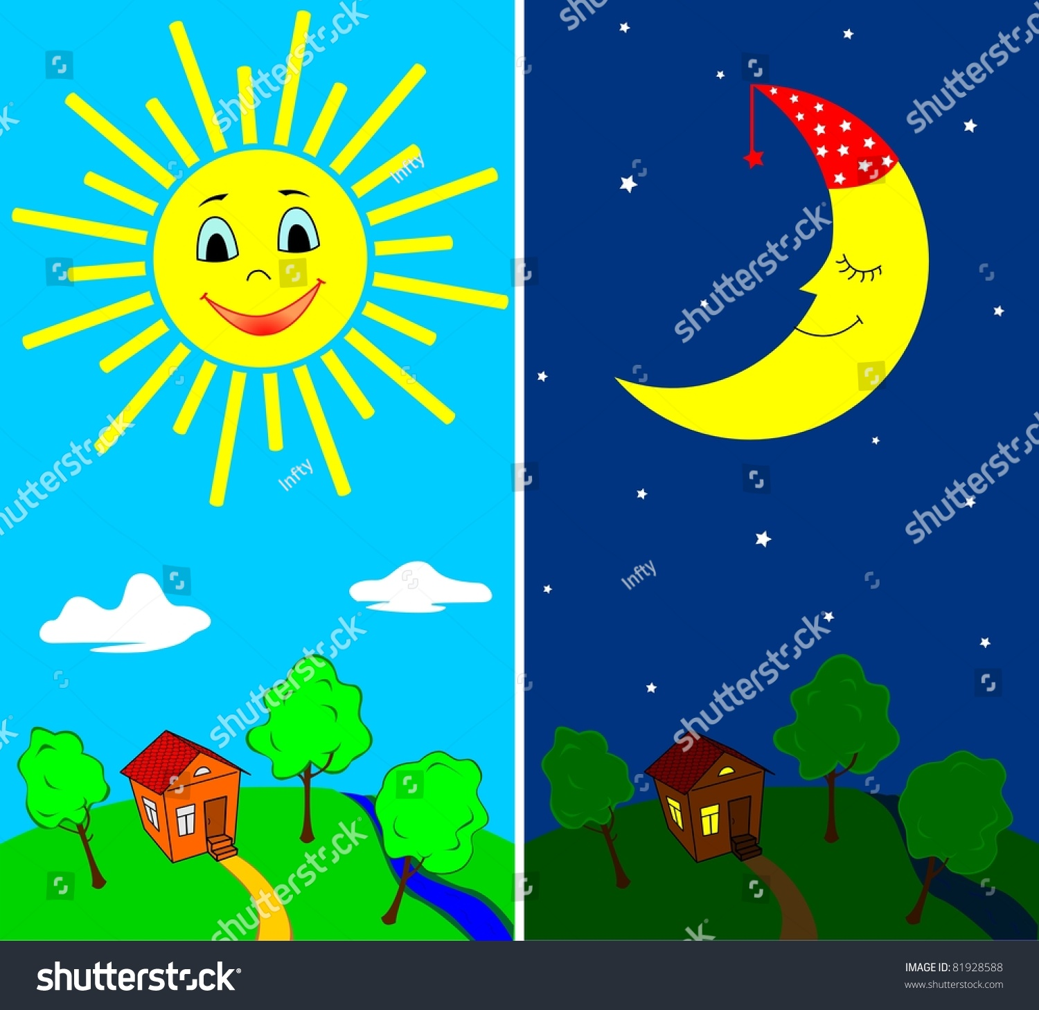 Day Night Countryside View Daytime Nighttime Stock Vector