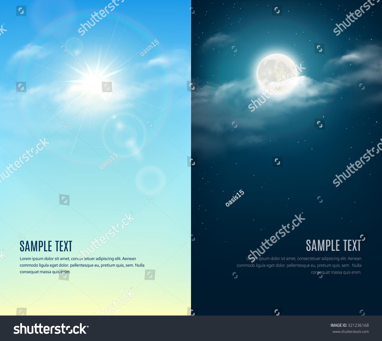 Day Night Illustration Sky Background Stock Vector