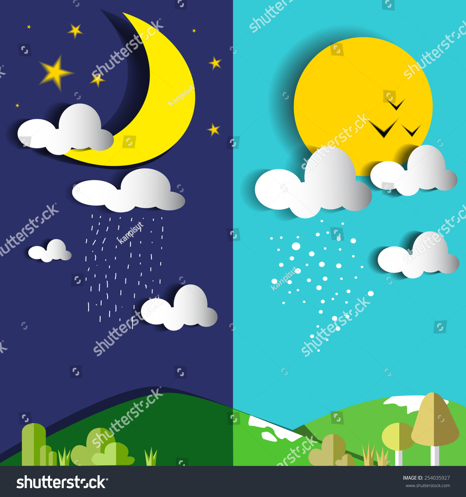 Day Night Sun Moon Vector Illustrationflat Stock Vector
