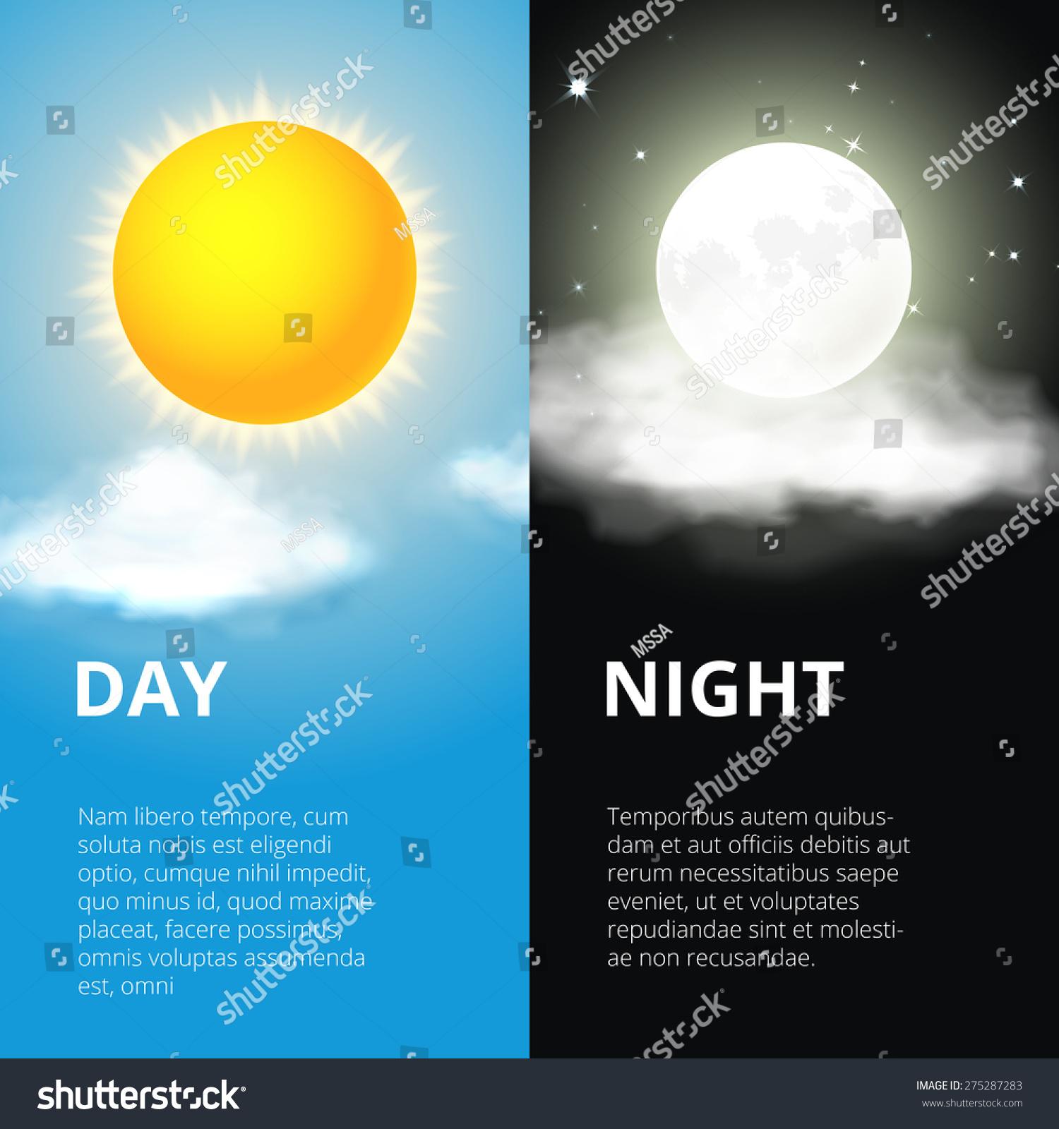 Day Night Sun Moon Sky Weather Stock Vector