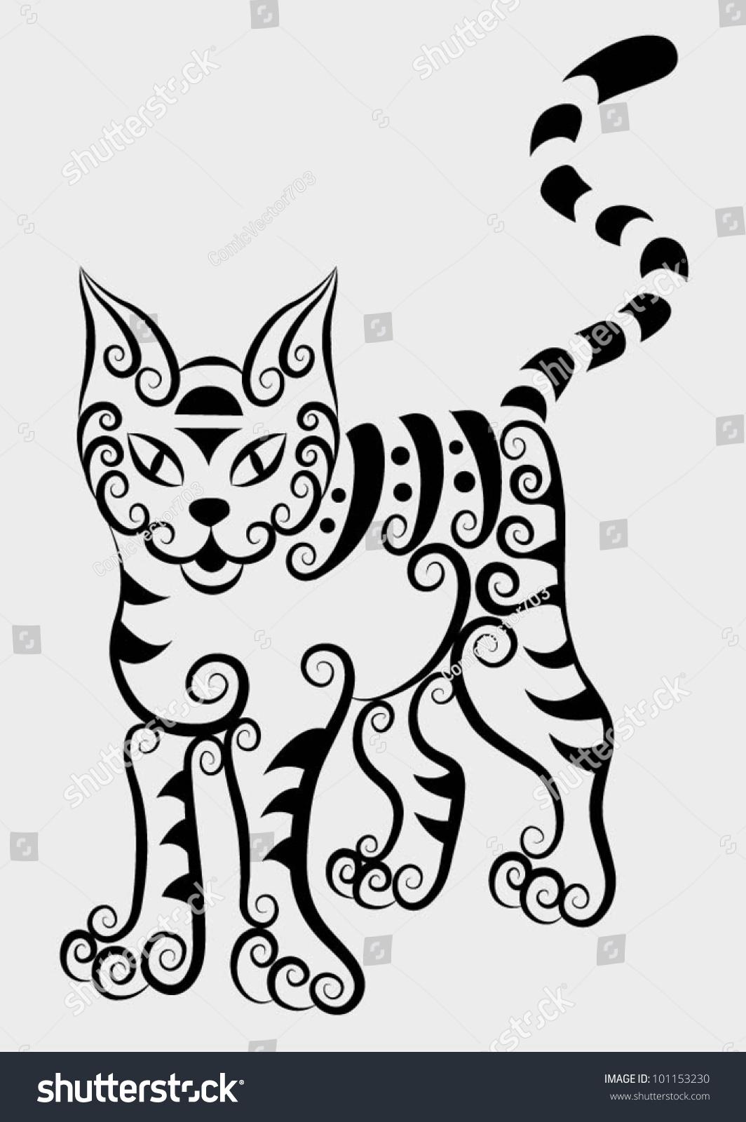 Decorative Cat 2 Animal Motif And Floral Ornament