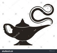 Decorative Magic Lamp Silhouette On White Stock Vector ...