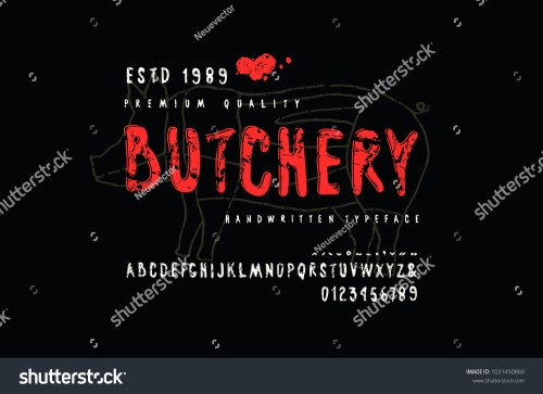small resolution of decorative sans serif font in handwritten style and label for butchery with pig diagram letters