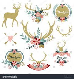deer antlers with flowers deer and floral clipart thank you clipart love you [ 1500 x 1600 Pixel ]