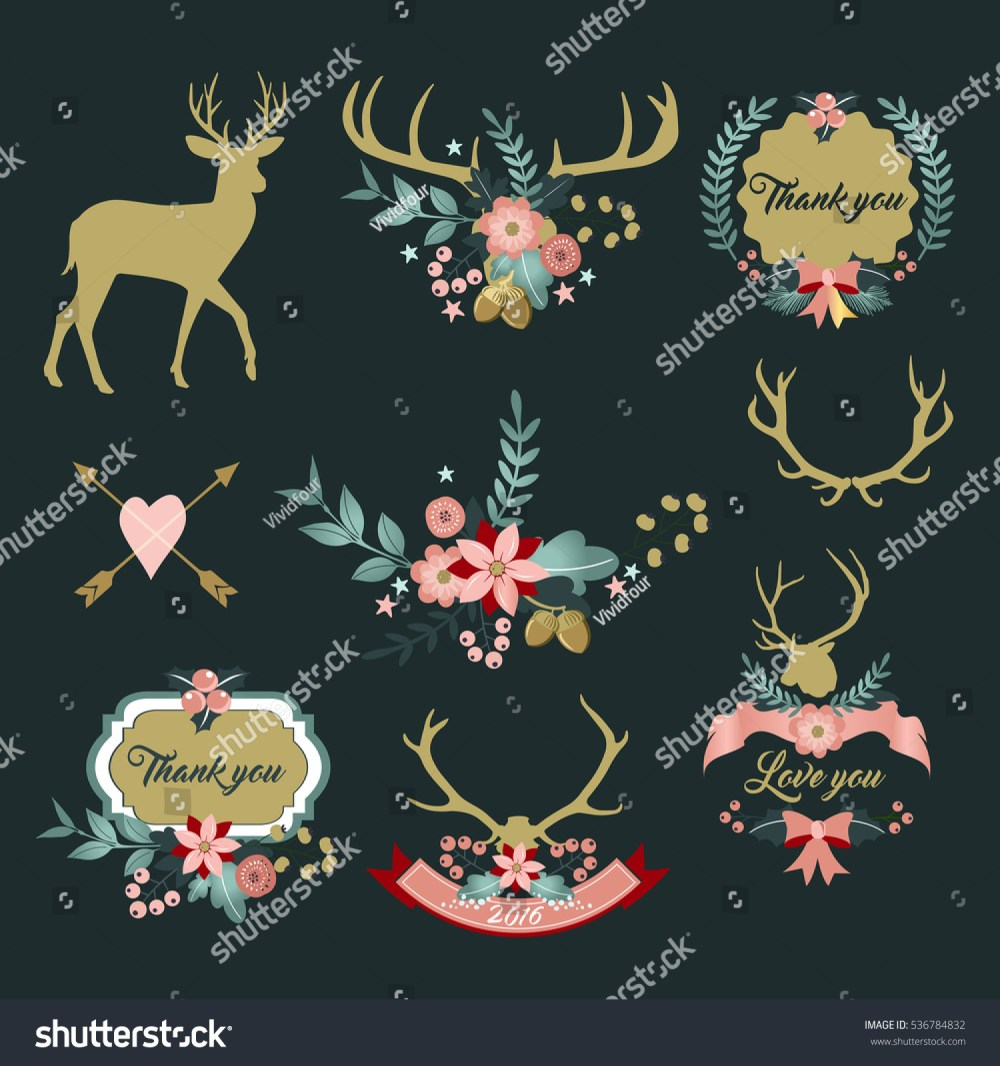 medium resolution of deer antlers with flowers deer and floral clipart thank you clipart love you