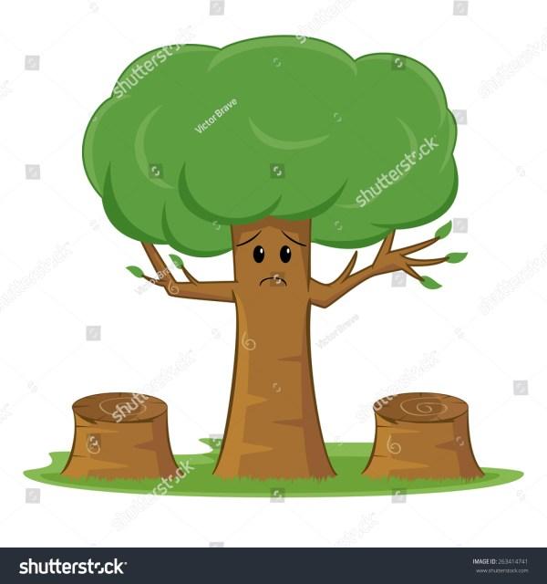 Deforestation Awareness Sad Tree Stock Vector 263414741