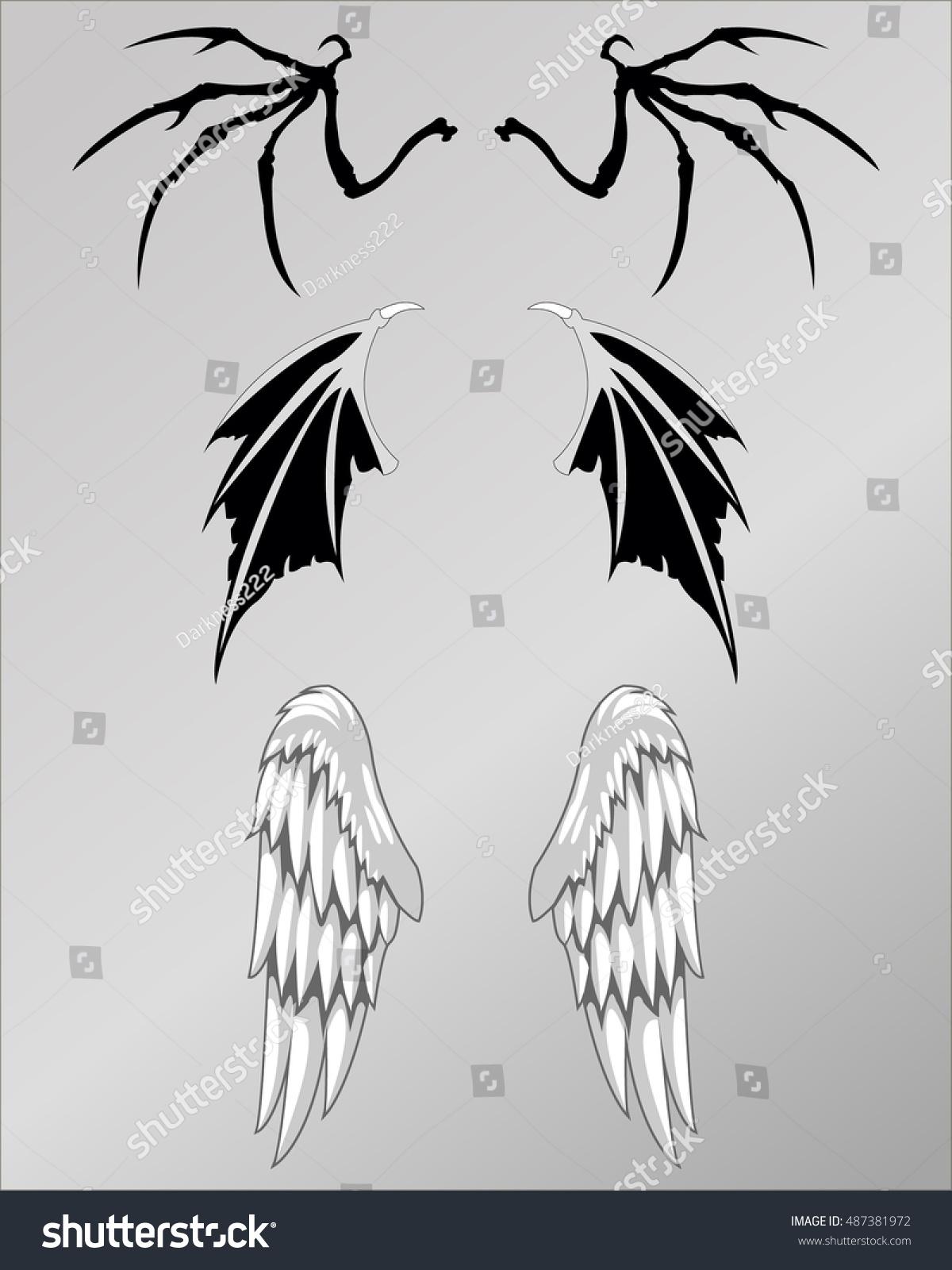 Demonic Wings Tattoo : demonic, wings, tattoo, Demon, Angel, Skull, Wings, Tattoo, Stock, Vector, (Royalty, Free), 487381972