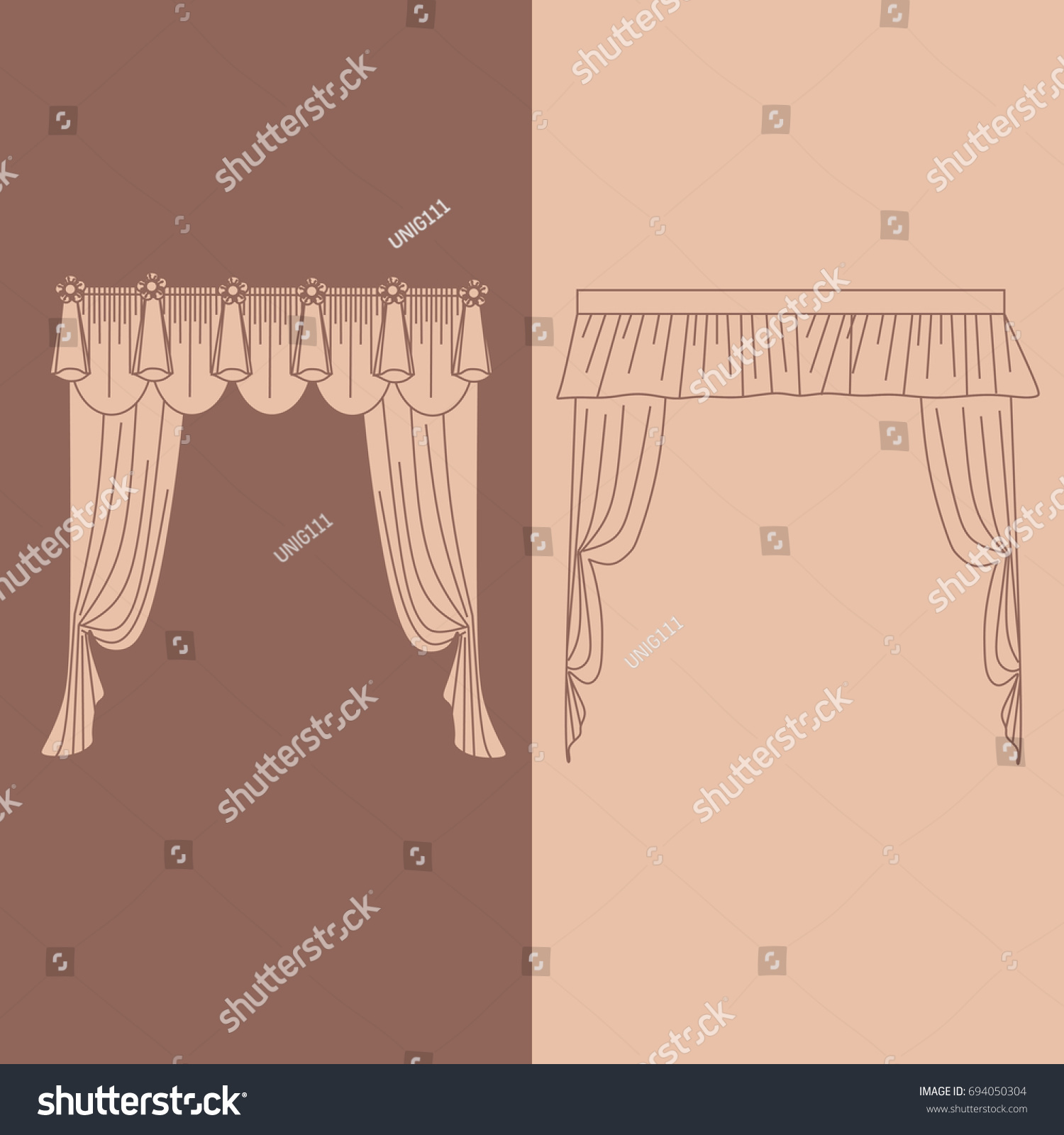 hight resolution of design ideas realistic icons collection isolated vector illustration curtains and draperies interior decoration