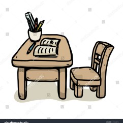Office Chair Illustration Raz Shower With Tilt Desk Book Learning Equipments Class Stock Vector
