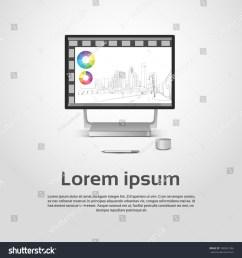desktop logo modern computer workstation icon monitor financial graph diagram infographic vector illustration [ 1500 x 1600 Pixel ]