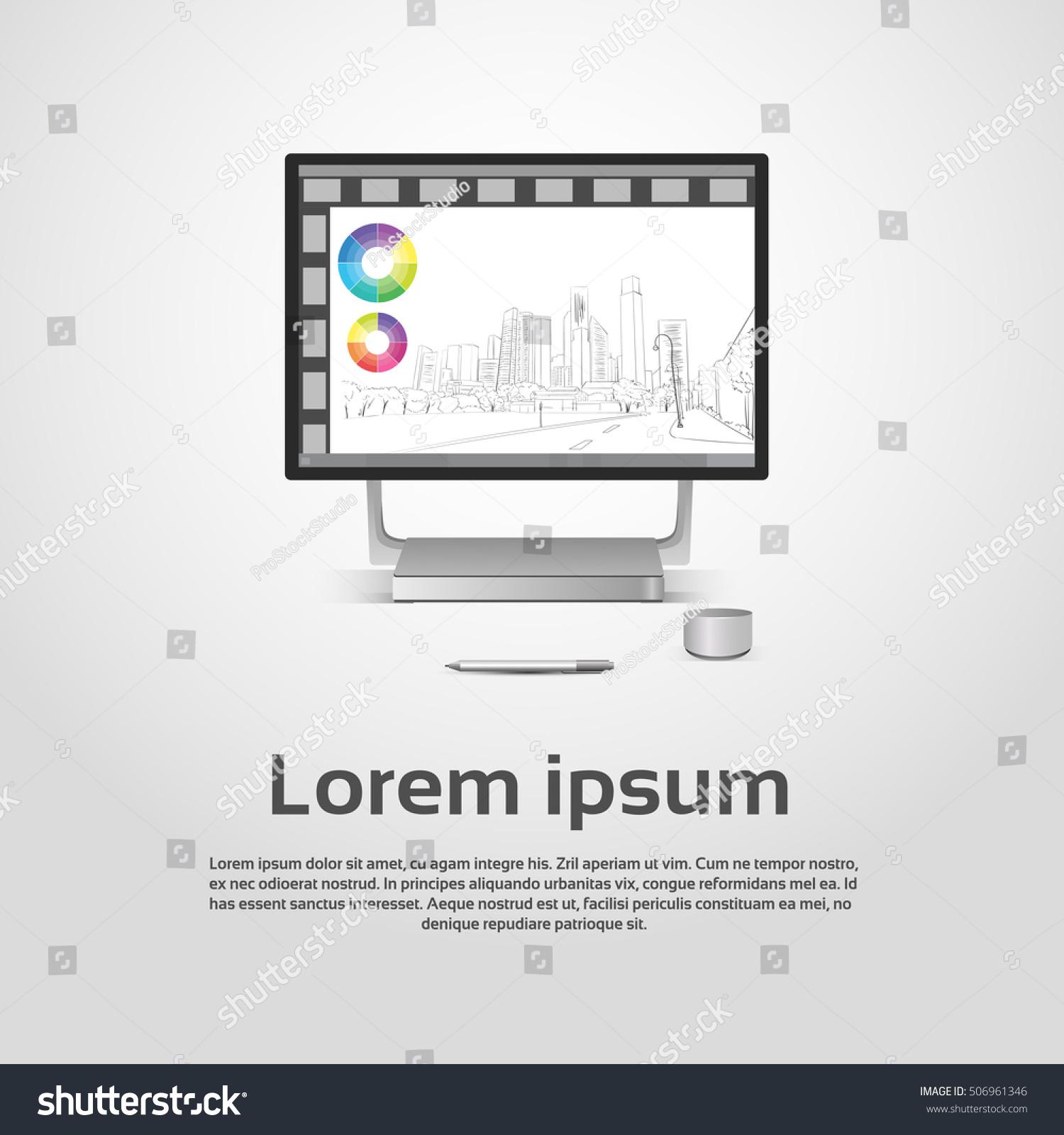 hight resolution of desktop logo modern computer workstation icon monitor financial graph diagram infographic vector illustration