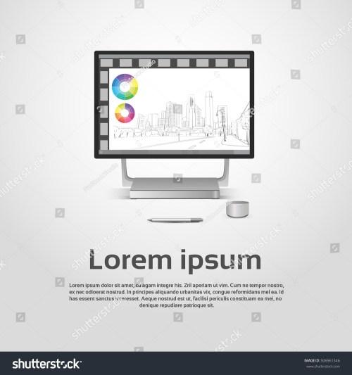 small resolution of desktop logo modern computer workstation icon monitor financial graph diagram infographic vector illustration