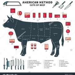 Beef Cuts Diagram Of Cow Clavicle And Scapula Detailed Illustration American Restaurant Stock