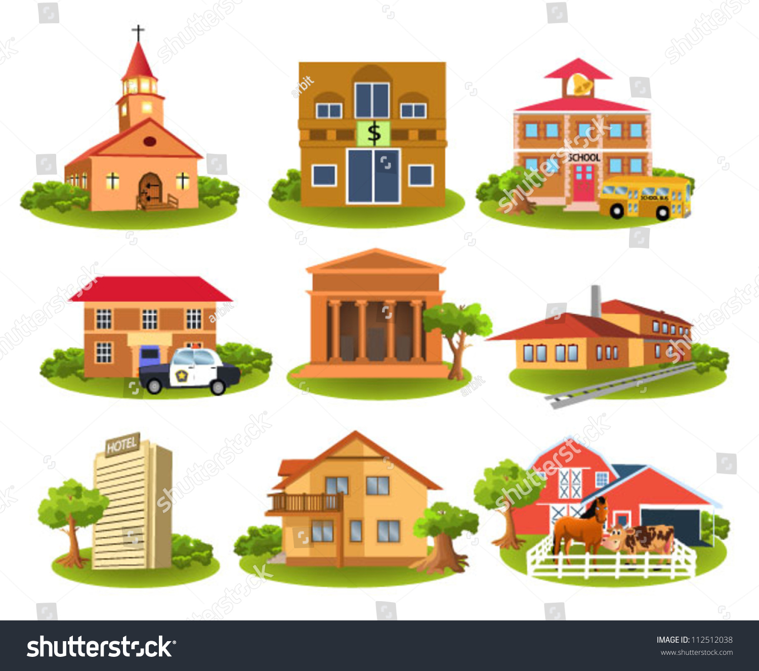 Different Buildings And Places Stock Vector Illustration