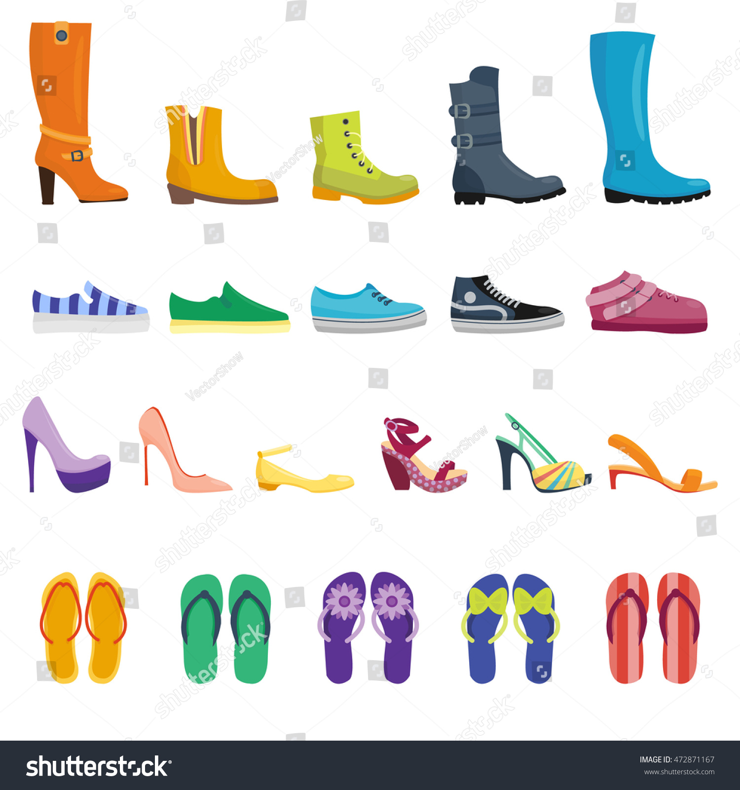 Different Shoes Isolated Collection Various Types Stock