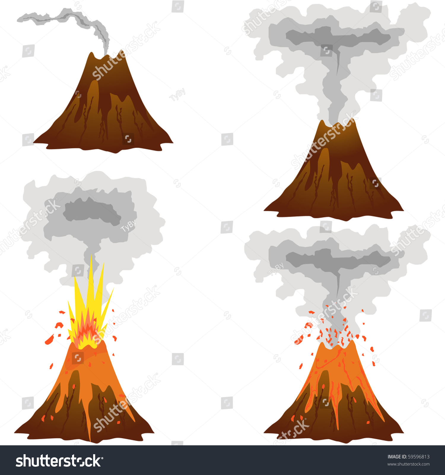 Set Vector Isolated Black Icon Fire Stock Vector Royalty Free Different Stages Volcano Icon Set Vector Stock Vector