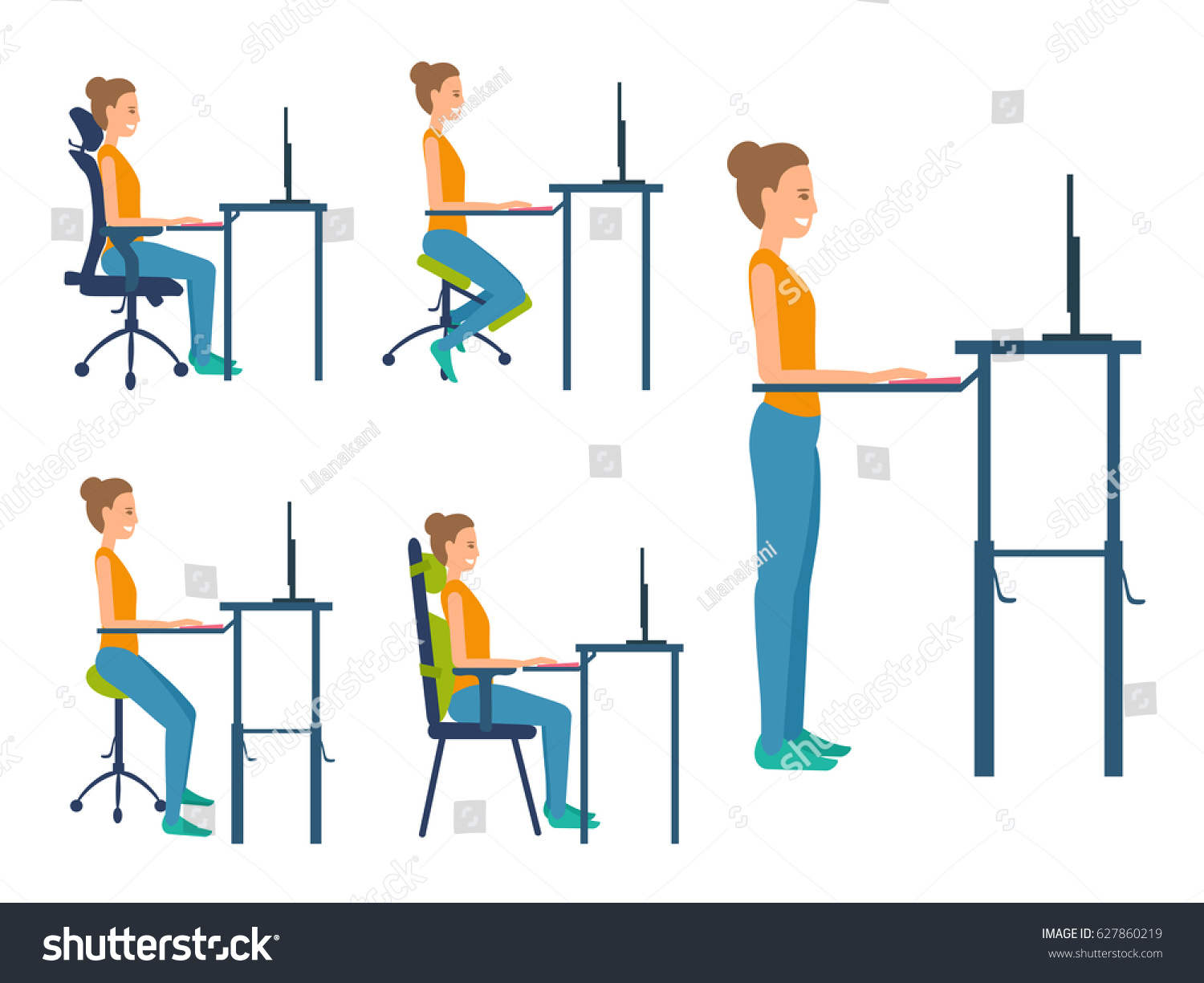 ergonomic chair types gym on different seats saddle standing stock vector