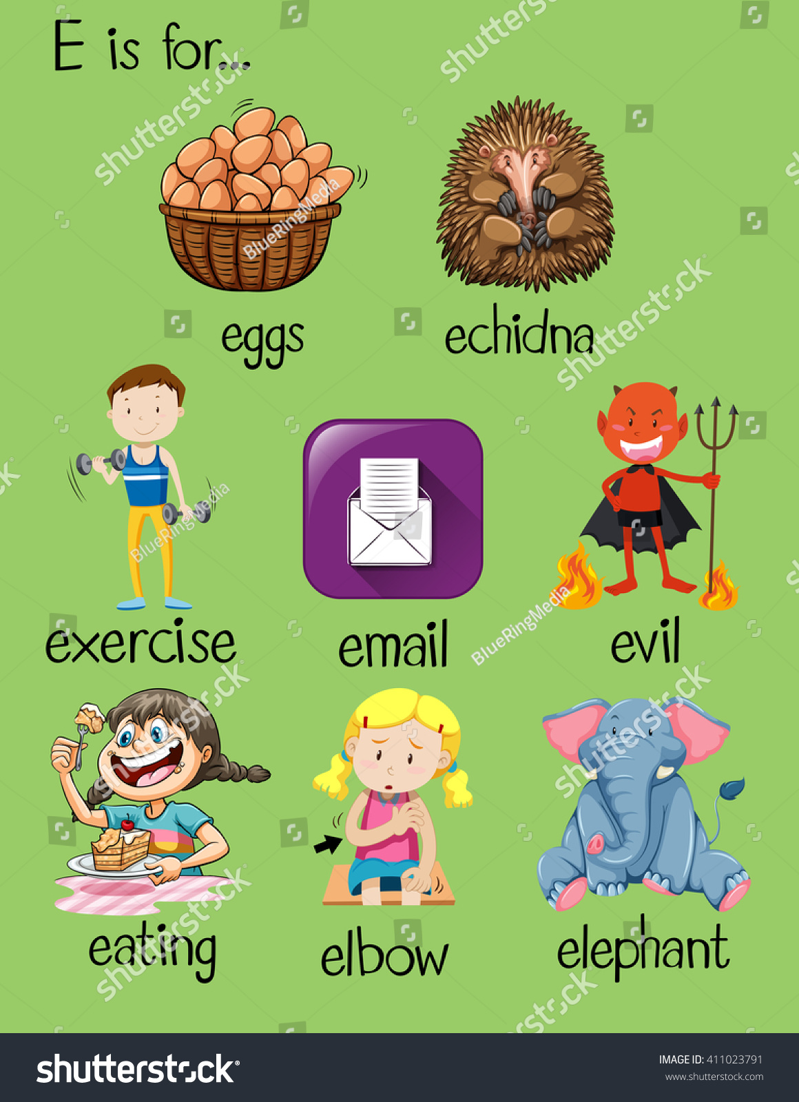 Different Words Letter E Illustration Stock Vector