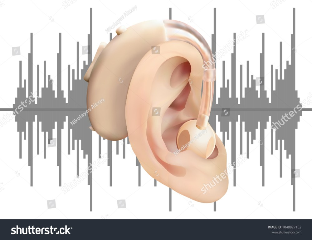 medium resolution of digital hearing aid behind the ear on background of sound wave diagram treatment and
