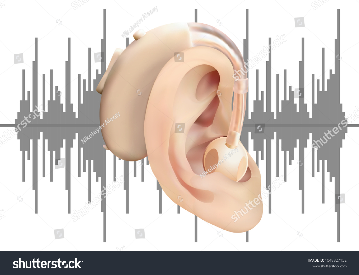 hight resolution of digital hearing aid behind the ear on background of sound wave diagram treatment and