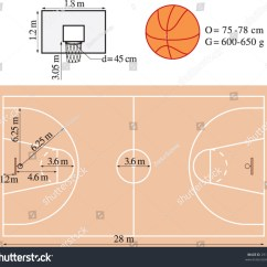 Multiple Basketball Court Diagram 7 Blade Trailer Connector Dimensions Of Playground Stock Vector