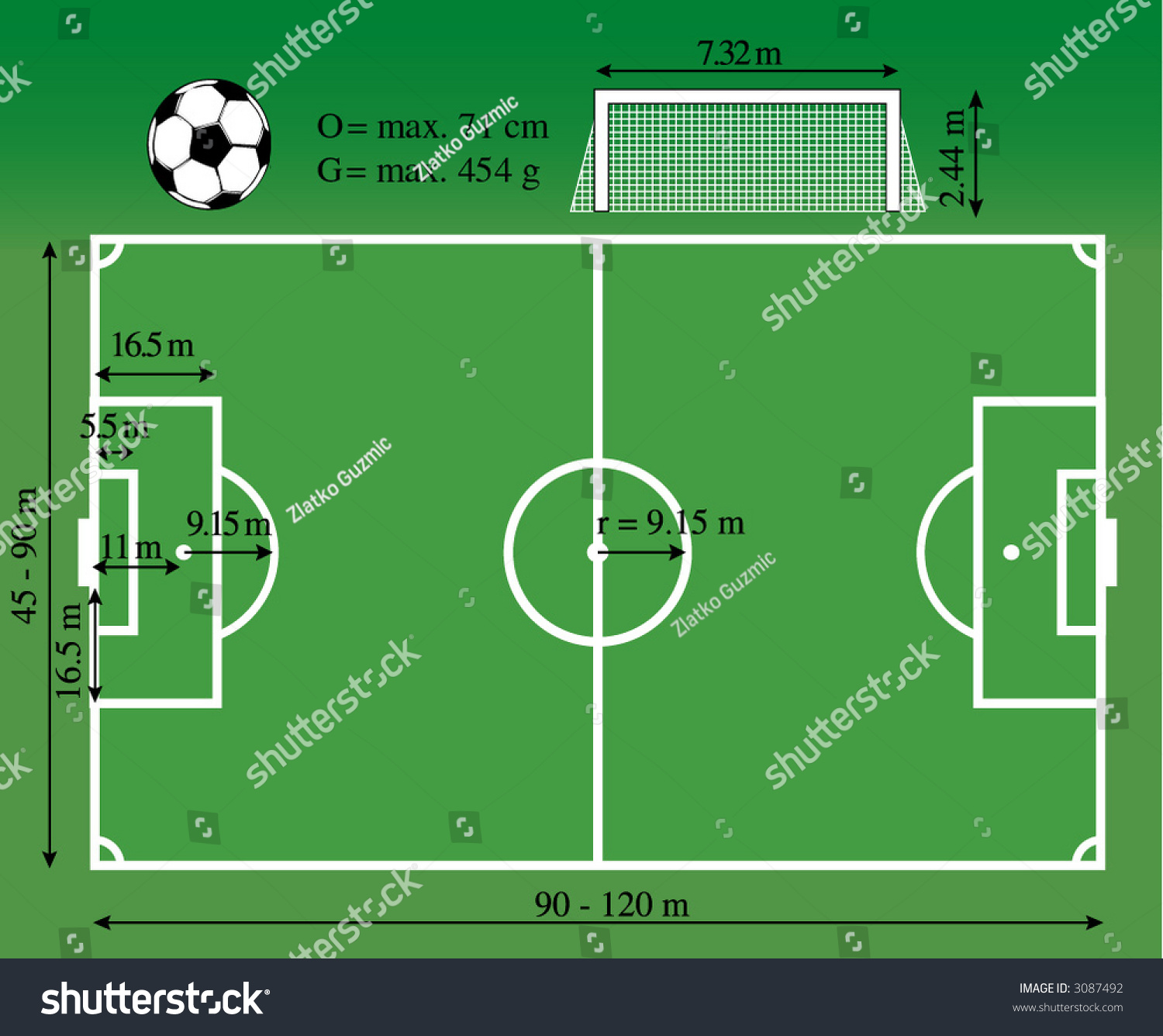 diagram of football ground with measurements car battery isolator switch wiring dimensions the soccer playground stock vector 3087492
