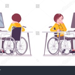 Wheelchair Jobs Rent A Chair Disabled Young Woman Working Computer Stock