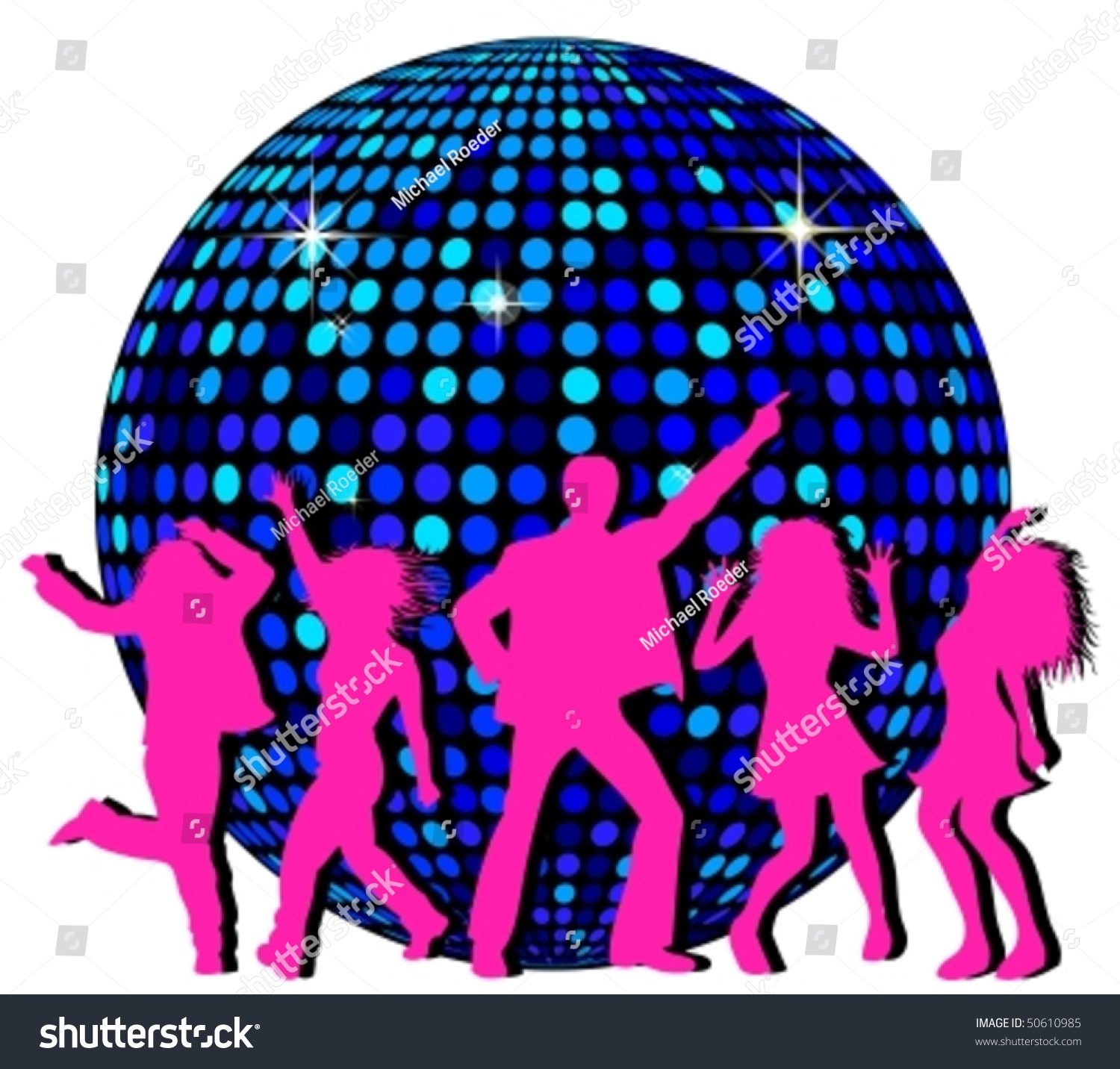 hight resolution of disco ball and dancing people